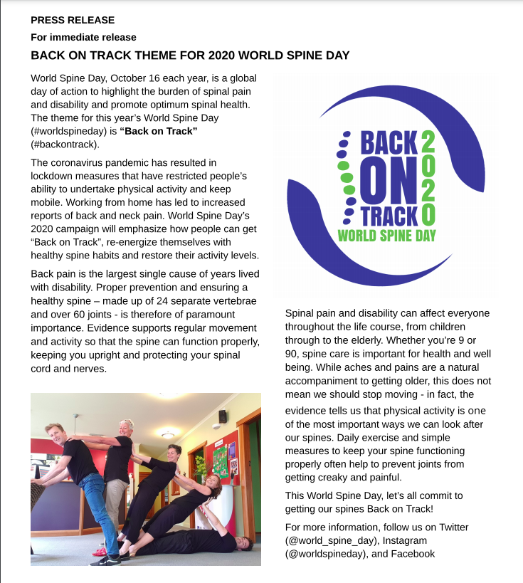 Press Release for World Spine Day